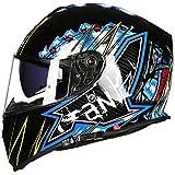 WKNBEU Herren Motorräder Helme Sicherheit Vintage Motorräder Helm Männer Full-Face Racing Helm Erwachsene Wasserdicht Winddicht Allround Radfahren Autocycle Fullface,E-L