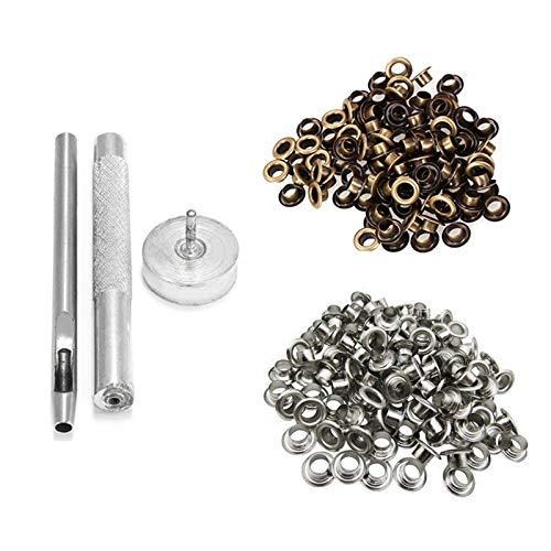 Trimming Shop 5mm Ösen 3 Set Loch-Stanzgerät Satz Satz With 50 Silber And 50 Bronze Ösen mit Scheiben für Leder Handwerk