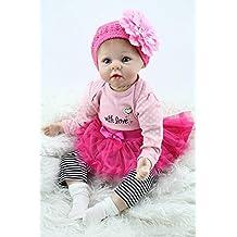 Yesteria Bebé Recién Nacido de Silicona Reborn Baby Doll Muchacha Falda Tutu 55 cm Rojo Rosa