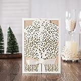 VStoy Recenti nozze d'oro Kit Inviti Cards con bowknot del nastro Cartoncino per Wedding Marriage festa di compleanno di laurea (20pcs)