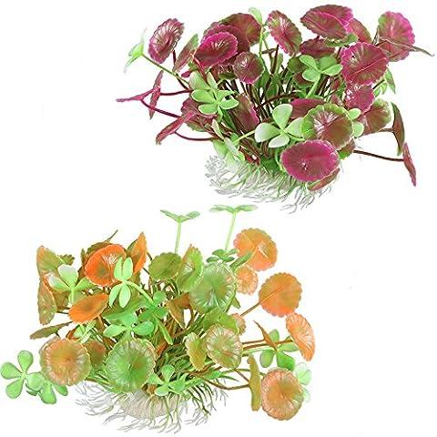 MIHOUNION 2 Bouquets Plantes d'aquarium artificielles Ornements de réservoir de
