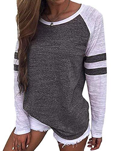 Odosalii Damen Patchwork Langarmshirt Tops Rundhals Streifen Sweatshirt Casual Basic T-Shirt Bluse