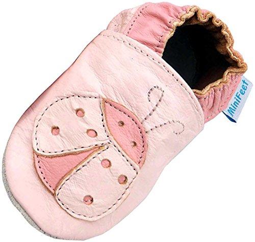 MiniFeet Weiche Leder Babyschuhe Krabbelschuhe - Baby Mädchen - Neugeborene bis 2-3 Jahre - Rosa Marienkäfer Rosa / Weichen Wildleder Sohle