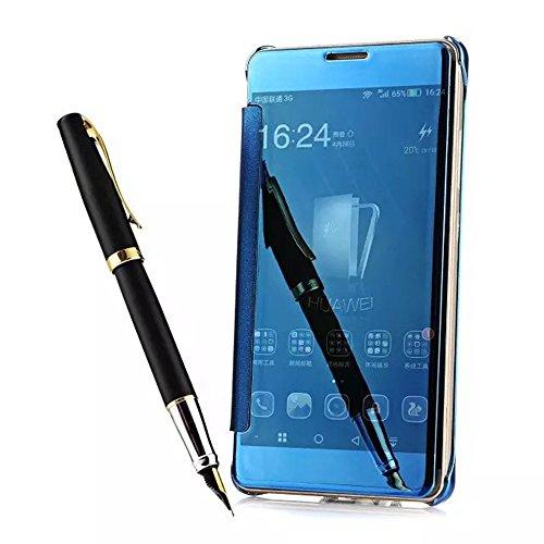 Für Huawei Ascend Mate 7 Hülle,Shinetop Luxus Clear View Plating Spiegel Handyhülle Case Flip Schutzhülle Cover Durchsichtig PC Hart Zurück Cover Stoßfest Kratzfeste Handy Tasche Schale Etui - Blau