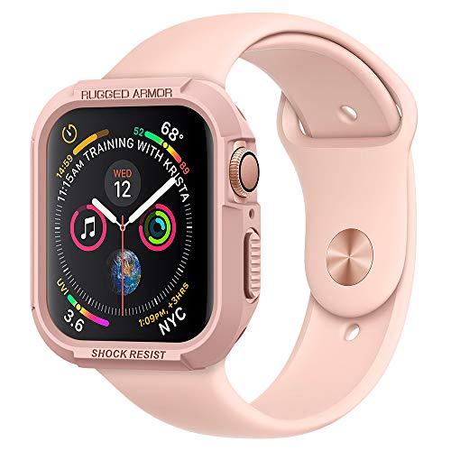 Spigen [Rugged Armor Kompatibel mit Apple Watch Series 4 40mm Hülle [Rose Gold] Robustes TPU Silikon Schutzhülle Stylisch Karbon Design Case Cover (061CS24481)