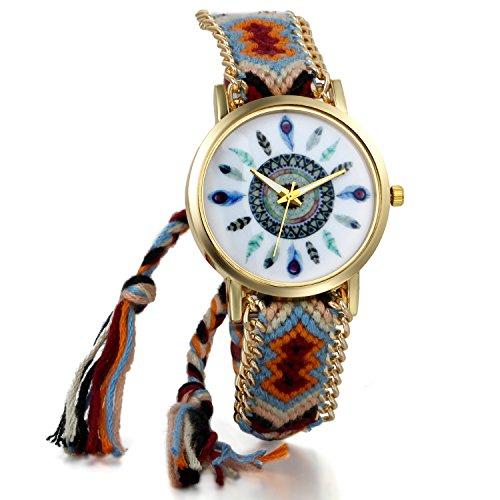 JewelryWe Boho Reloj De Pulsera Étnica De Mujeres, Marrón Rojo Cuerda De Tela Tejida, Reloj Trenzado De Hilos Ajustable, Plumas Indigenas, Regalo Para Chica