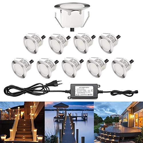 RSWLED 10er Set LED Bodeneinbaustrahler Ø45/Ø30mm Aussen Terrassen Einbaustrahler 12V IP67 Wasserdicht Bodeneinbauleuchten für Küche Garten Treppen Balkon Terrasse (Warmes Weiß - 10er Set, Ø45mm)