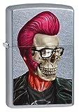 Zippo 20760002467pl Rockabilly Skull Profile Mechero de gasolina, latón, Street cromo, 1x 3,5x 5,5cm