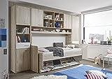 Funktionsmöbel 2 in 1, Bett / Schreibtisch mit Überbau aus Eiche San Remo Dekor, ca. 326x220x102/104 cm