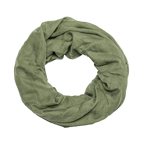 MANUMAR Loop-Schal für Damen einfarbig | feines Hals-Tuch in grün als perfektes Herbst Winter Accessoire | Schlauch-Schal | Damen-Schal | Rund-Schal | Geschenkidee für Frauen und Mädchen