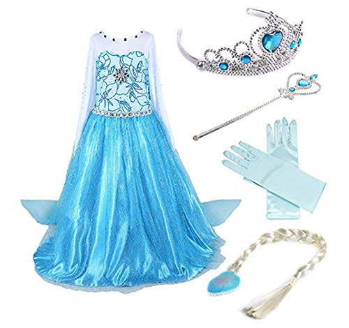 ZQZP TOP Mädchen Kinder Eiskönigin ELSA Prinzessin Kleid mit Umhang Karneval Party Kostüm Cosplay Verkleidung Halloween Fest