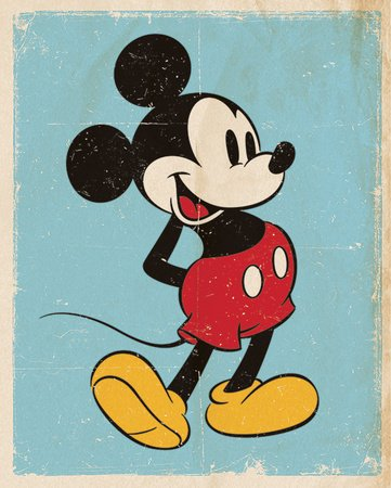 Pyramid International Retro Mickey Mouse Mini-Poster, Kunststoff/Glas, Mehrfarbig, 40 x 50 x 1,3 cm