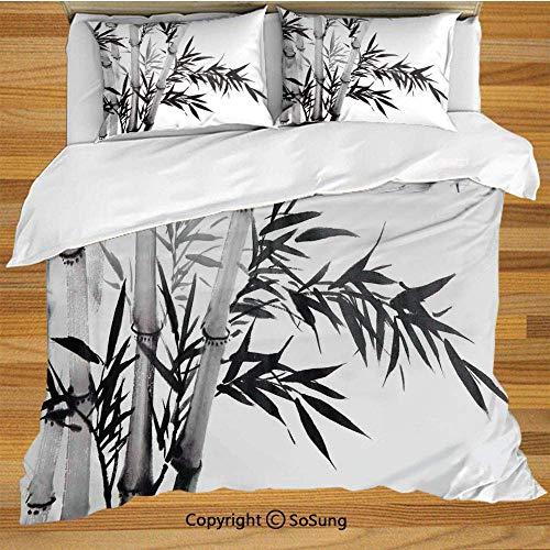 Bambus Bettwäsche Bettbezug Set, Bambus Baum Illustration Traditionelle Chinesische Kalligraphie Stil Asiatische Kultur Dekorative Dekorative 3 Stück Bettwäsche Set mit 2 Kissenbezügen, Anthrazit Weiß -