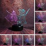 Regali per fan di Star War Master Yoda VS Black Warrior Darth Vader Colore misto Multicolor Led Night Light Kids Man Giocattoli di Natale