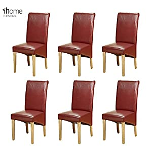 51klBRpvuuL. SS300  - 1home 6 x Leather Dining Chair w Oak Finish Wood Legs Roll Top High Back