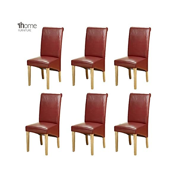 1home 6 x Leather Dining Chair w Oak Finish Wood Legs Roll Top High Back 51klBRpvuuL