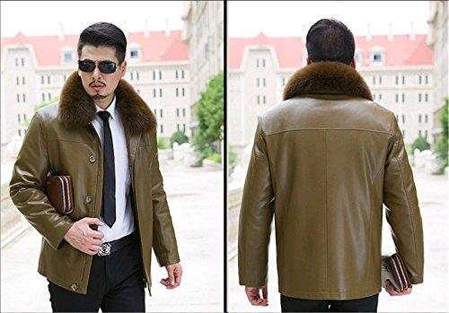 WS668 Winter Herren Leder Schaf Wolle Gefüttert Luxus Pelzkragen Warm Jacket 818-Braun