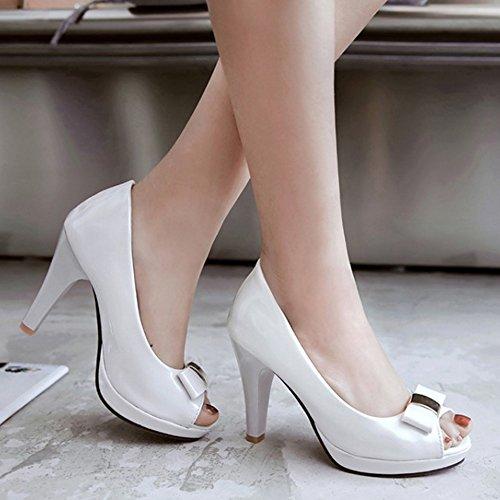 TAOFFEN Femmes Mode Peep Toe Sandales Conique Talons Hauts Plateforme A Enfiler Chaussures De Bowknot Blanc