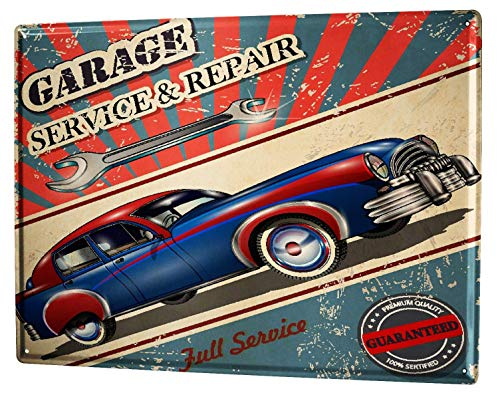 Metal Sign 12x16 Inches Poster Plaque Tin Plate Vintage Plaque Garage Workshop Full Service Gas Stations Vintage - Gas Station Sign Display