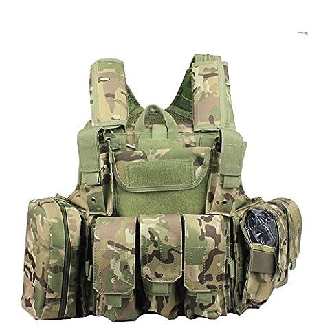 YTM(TM) Tactical Molle Airsoft Vest Paintball Combat Soft Vest (Multicam)