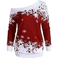 LEvifun Winter Damen Christmas Blusen Elegant Festlich Große Größen Frauen Tops Schlitzkragen Frohe Fröhliche Weihnachten Weihnachtsmann Trägerlose Schulter Sweatshirt