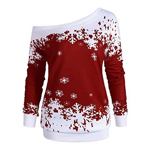 MEIbax Damen Weihnachten Pullover Schneeflocke Print Sweatshirt Langarmshirts