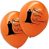 20 'Happy Halloween' Luftballons Sensenmann Orange
