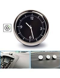 R27 Mini Uhr Kfz Auto Zeitanzeige Autouhr Zeituhr beleuchtet Quarzuhr Digital, Glasspiegel, hohe Transparenz, nicht leicht zerkratzt, Klebstoff-basiert, Material: Stahlbewegung, Glasspiegelfläche, ABS-Schale, Stromversorgung: Zellenbatterie, Anzeigetyp: Nummer, Schwarz-Silber