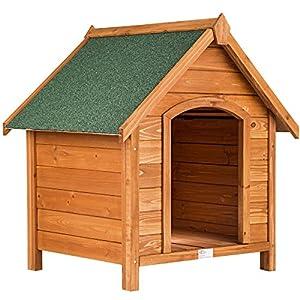 TecTake Niche pour chiens XXL en bois massif | toit incliné | résistant aux intempéries | 72x65x83cm
