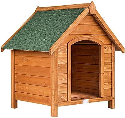 TecTake Caseta de madera maciza para perro tejado verde 72x65x83 cm