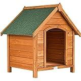 TecTake Hundehütte XXL Massiv Holz für Indoor und Outdoor 72x65x83 cm Hundehaus wetterfest mit aufklappbarem Spitzdach