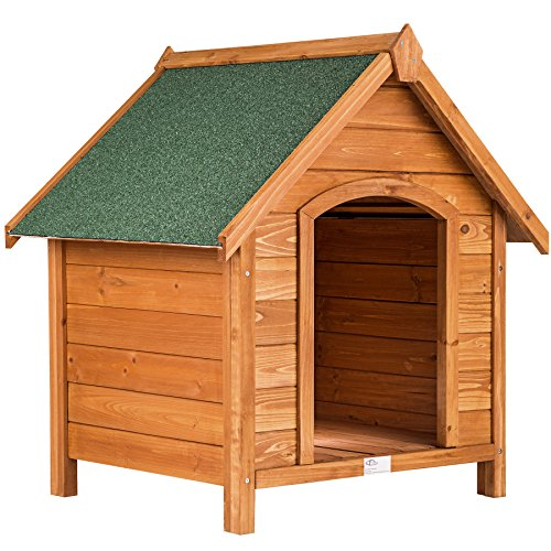 TecTake Wooden XXL dog kennel house tar roof weatherproof 72x65x83cm