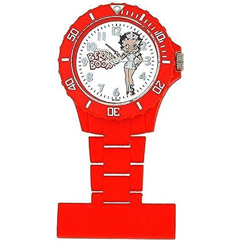 Betty Boop orologio da taschino rosso quadrante bianco con disegno BTY031A