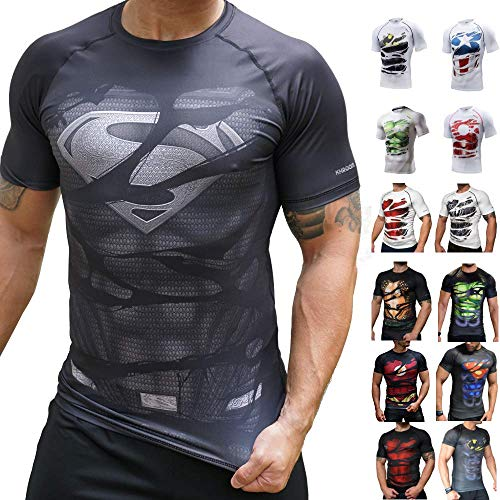 Khroom® Herren Funktionsshirt Kurzarm atmungsaktiv im Helden Design (Superman B Black, XL)