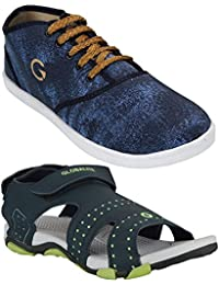 Globalite Men's Casual Stylish Sports Sandals/Office Floaters & Canvas Sneakers Shoes (Pack Of 2)