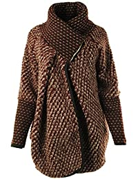 Frauen Damen Bubble Coatigan Italian Lagenlook Quirky Schicht Wool Zip Langarm-Cocoon-Mantel-Jacken Poncho Cape Oversize