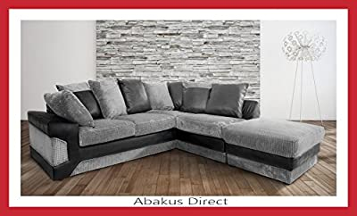 Dino Corner Sofa in Black&Grey with a Footstool, 2 or 3 Seater or Swivel Chair by Abakus Direct