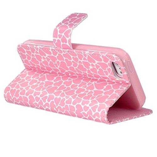 iPhone 6Plus/6S Plus Étui à rabat en cuir PU avec béquille, newstars Sky ou Fêtes Support pliant PU Portefeuille Rose Fleur d'Impression Design de cellules avec emplacements pour cartes pour iPhone 6 C1 Pink Heart