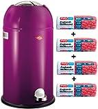 Wesco Set Kickmaster Brombeer 33-Liter Mülleimer + 56 Stück optimal Passende Müllbeutel
