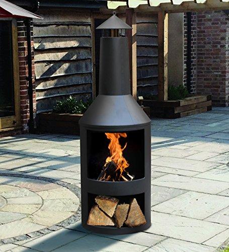 Kingfisher Garten-Holzofen aus schwarzem Stahl mit integriertem Holzspeicher