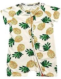 FidgetGear Summer Baby Cotton Short-Sleeve Romper Printed Inclined Side Zipper Jumpsuits