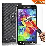 [2 Pack] FEtech Samsung Galaxy S5 Film Protection en Verre trempé écran protecteur ultra résistant Glass Screen Protector pour Samsung S5