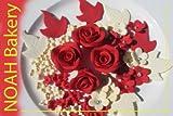 Mariage Royal Diverses Couleurs Sucre Roses Fleurs Feuilles Mariage Fait Main Anniversaire Gâteau De Baptême Cupcake Toppers (Blanc/Rouge)