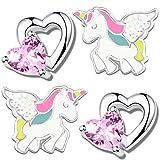 2x Kinder Ohrringe Echt 925 Sterling Silber mit rosa Zirkonia kleine Mädchen Ohrstecker Pferde Herz K710 + Einhorn K304
