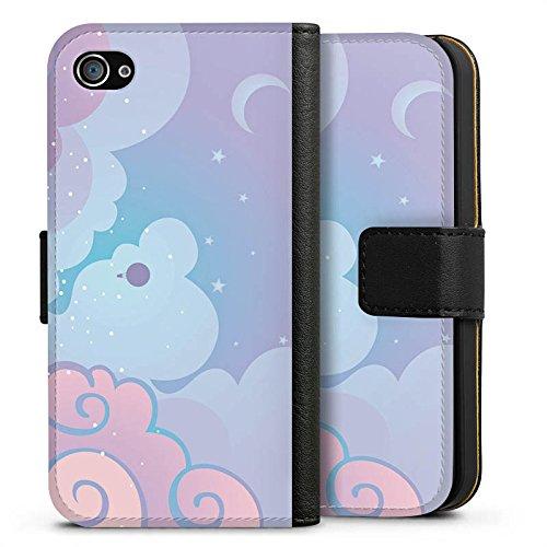 Apple iPhone X Silikon Hülle Case Schutzhülle Wolken Himmel Sterne Sideflip Tasche schwarz
