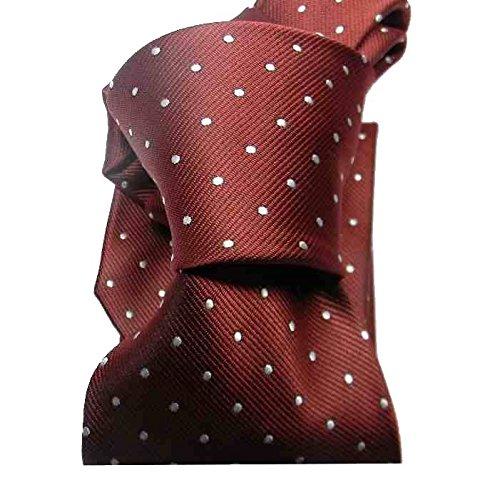 Avantgarde - Cravatta Nera Bordeaux Blu Gialla Beige a Pois Punkts Pallini Blu O Bianchi, Colore: Rosso Bordeaux