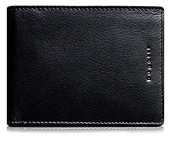 Bugatti Romano Geldbeutel Männer Leder - Geldbörse Herren Schwarz - Portmonaise Portemonnaie Portmonee Brieftasche Wallet Ledergeldbeutel