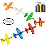 US Sense Stunt Plane Airplane Flying Glider DIY Creativity Set Of 7 - Hand Launch - Easy Assembly For Kids Boys Girls - Fun Summer Toys Great Gift Party Favors Or Cake Toppers