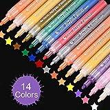 Marqueur Peinture Acrylique, Lypumso 14 Couleurs Acrylique Stylo, Permanent Marqueur Set étanche Type Stylo Feutre Stylo Pour Vitrail, Peinture sur Tissu