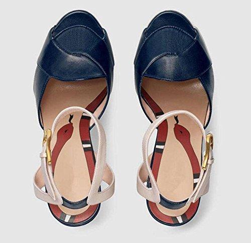 Peep Toe Cinturino in cinghia Piattaforma Pompe a Cuneo Sandali in pelle 40 41 42 43 Scarpe di grandi dimensioni blue stripes